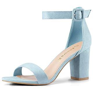 Allegra K Damen-Sandalen mit Knöchelriemchen und kompaktem Absatz., Blau - himmelblau - Größe: 38.5 EU