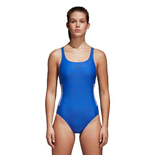 adidas Damen Essence Core 3-Streifen Badeanzug, Hirblu/White, 44