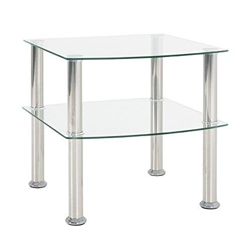 Haku-Möbel 15208 Beistelltisch, Glas 5mm, Edelstahl-Klarglas, 45 x 45 x 44