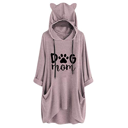 Selou Damen Casual Hooded Cat Ear Print Shirt Mit Tasche, Unregelmäßige Bluse Herbst Langarm Kordelzug Pullover Tunika Tops Frauen Slim Fit Basic Sport Baseball Oversize V Neck Shirt