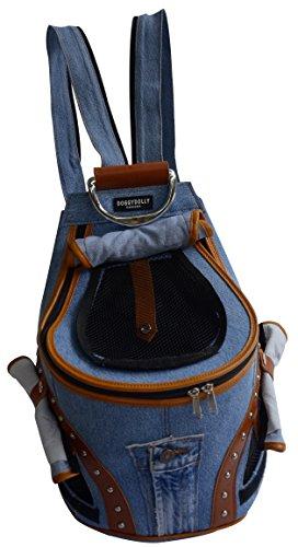 Doggy Dolly PC031 Hunderucksack Jeans mit Netzfenster, Tragetasche, blau-braun (Dolly Für Rucksack)