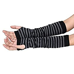 New Akira 34*18cm Long Sleeve Striped Fingerless Gloves Lady Stretchy Soft Knitted gloves (Black and Gray)