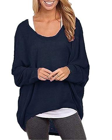 ZANZEA Femme Casual Lâche Automne Jumper Irrégulier Manches Chauve-souris Longues Pull-over Shirt S-3XL Bleu Foncé FR 42-44/Etiquette Taille L
