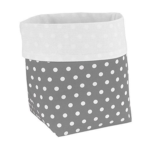 Preisvergleich Produktbild Sugarapple Utensilo Stoff Aufbewahrungsbox aus Baumwolle 19 x 13,5 x 13,5 cm, Stoffbox fürs Bad, als Wickeltisch Organizer oder Windelspender Korb, Grau Punkte weiß