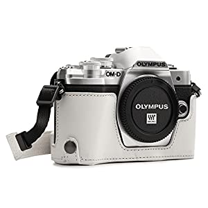 MegaGear MG1354 Ever Ready Leather Half Case and Strap with Battery Access for Olympus OM-D E-M10 Mark III Camera - White