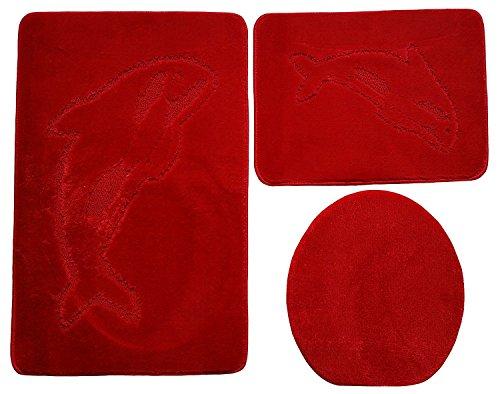 Ilkadim 3- teilig Badgarnitur 60x100cm, Badset Delphin Hänge-WC Badematten Badteppich (Rot)