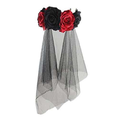 WE-WHLL Womens Halloween Kranz Stirnband handgefertigten Stoff Rose Blume mit schwarzem Netz Schleier Tüll Crown Festival Tag der Toten - Tüll Weihnachtsbaum Kostüm