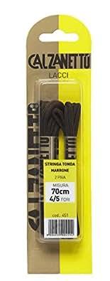 Calzanetto, Stringa Tonda, lacci per calzature, lunghezza 70 cm, confezione da 2 Paia, Colore Marrone