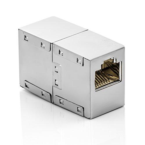 deleyCON CAT6 RJ45 Kupplung Verbinder Netzwerkkabel Patchkabel Ethernetkabel Adapter Modular Geschirmt 2X RJ45 Buchse DSL LAN RJ45 1 Stück -