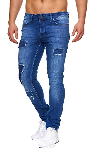 TAZZIO Slim Fit Herren Destroyed Look Stretch Jeans Hose Denim J-1003 Blau 32/32