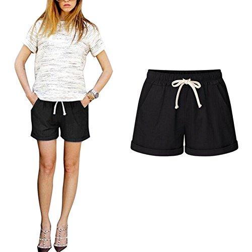 Damen Elegant Shorts - Bequeme Elastische Taille Loose Fit Hosen mit Kordelzug Mode Einfarbig Beiläufige Pants Kurze Hosen Streetwear M-6XL
