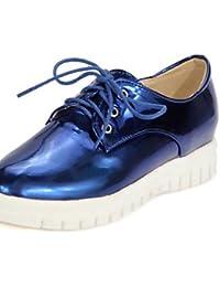ZQ Zapatos de mujer-Tacón Cuña-Cuñas / Comfort / Punta Redonda / Tira en el Tobillo-Oxfords-Exterior / Oficina y Trabajo-Cuero Patentado- , black-us8.5 / eu39 / uk6.5 / cn40 , black-us8.5 / eu39 / uk6