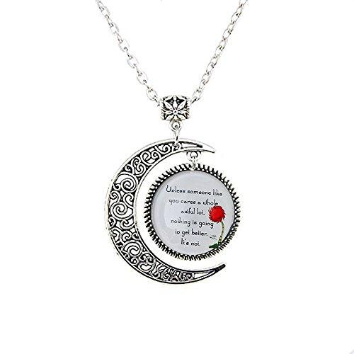Lorax Truffula Baum 'sofern nicht' Zitat Anhänger, Silber oder Bronze Halskette, Silber oder Bronze Moon Schmuck, Moon Halskette Glas Art Bild