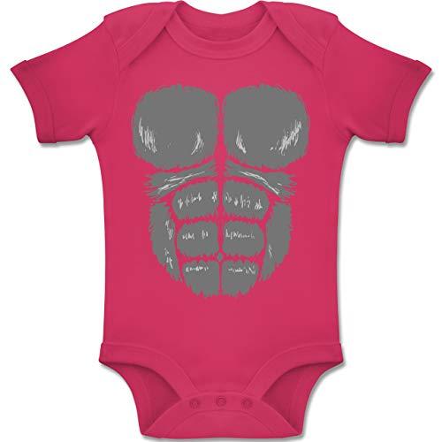 Gorilla Kostüm Besten - Shirtracer Karneval und Fasching Baby - Gorilla Kostüm Fasching - 12-18 Monate - Fuchsia - BZ10 - Baby Body Kurzarm Jungen Mädchen
