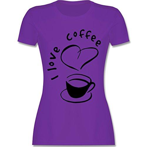 Küche - I Love Coffee - tailliertes Premium T-Shirt mit Rundhalsausschnitt für Damen Lila