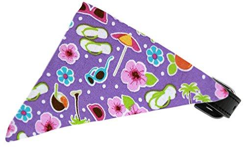 Purple Summer Fun Bandana Pet Collar Black Size 18
