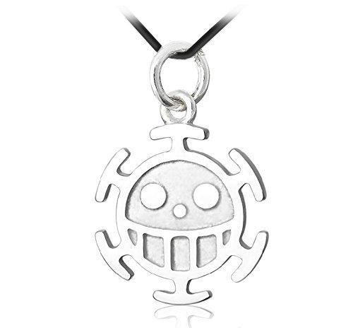 CoolChange One Piece Trafalgar Law Halskette mit Anhänger Jolly Roger der Heart Piratenbande aus echtem 925 Sterlingsilber
