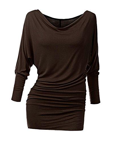 Damen Langarmshirt Jersey Minikleid Fledermaus Pulli Tunika Stretch-BRS (Braun Shirt Baumwolle)