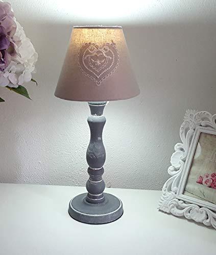 Lampe Tischlampe Stehlampe Nachttischlampe mit Lampenschirm Shabby Chic Landhausstil Leuchte grau - 38 cm groß (Love)