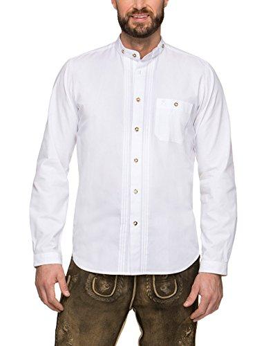 Stockerpoint Herren Trachtenhemd Leon, Weiß (Weiß), Large