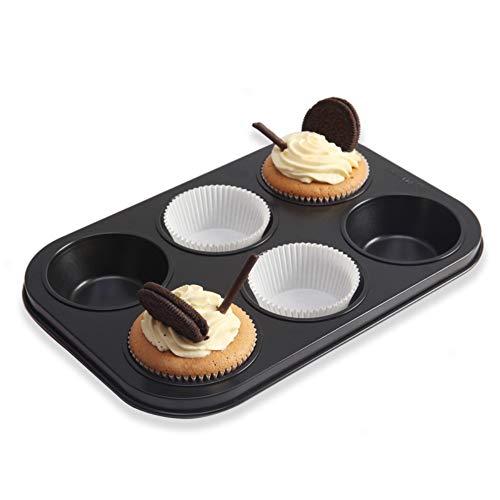 Moldzhu Kuchenform 6 Tasse Antihaft-Muffin Kuchen Backform Ei Form Brot Backform Backformen Ofen Schwarz
