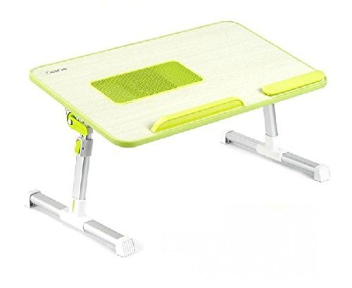 XGEAR Voll einstellbare MDF-Platte Laptop-Tisch | Tragbaren Notebook-Computer-Standplatz mit eingebautem Lüfter | Premium-Höhenverstellbarer Folding Lap Desk Tray (grün)