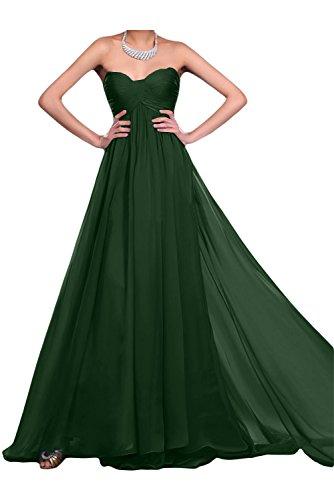 Gorgeous Bride Modisch Empire Chiffon Lang Herz-Ausschnitt Abendkleid Ballkleid Brautjungfernkleid Dunkelgruen