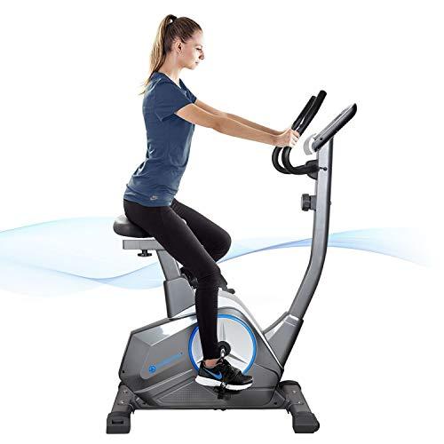 GYMBOPRO - Cyclette con sensori per Polso e Mani, 8 Livelli di Resistenza, per Fitness, Bicicletta, Fitness, Bike, compatta e Pieghevole, Fino a 120 kg