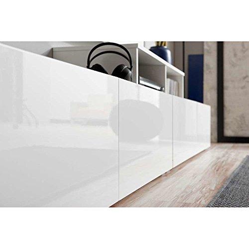 JUSThome VELVET Wohnwand Anbauwand Schrankwand (HxBxT): 180x270x45 cm Weiß Matt / Weiß Schwarz Hochglanz - 2