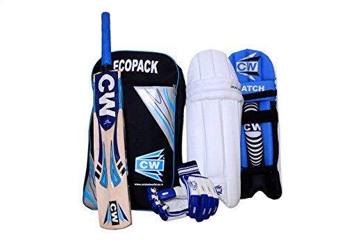 CW Junior Sports Cricket Kit Blau Größe Nr. 04Set mit Kaschmir Willow Fledermaus Batting Pad, Batting Handschuhe mit Ecopack Schulter Kit Bag Ideal für