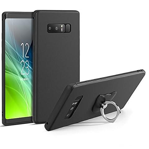 Galaxy Note 8Schutzhülle Slim Schutzhülle, mit Ständer superdünn Fallsicherung TPU Rugged Flexible Schutz und ein Phone Ring Ständer Halter für Samsung Galaxy Note 8(2017)–matt schwarz
