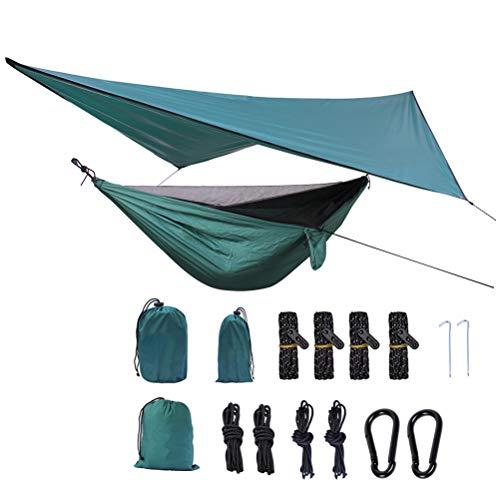 Outdoor Camping Hängematte mit Moskito Net und Regen Plane 360 * 290cm Hohe Festigkeit Fallschirm Stoff Hängen Bett Jagd Schlaf Schaukel (Outdoor-hängematte-schaukel-bett)