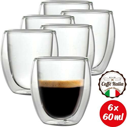 Caffé Italia Roma 6 x 60 ml Doppelwand-Thermo-Gläser - für Espresso Tee Heiß- und Kaltgetränke - spülmaschinengeeignet