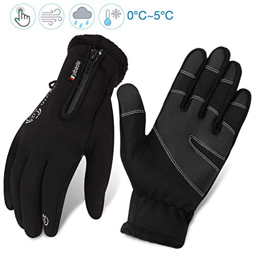 Fahrradhandschuhe männer winter wasserdicht Fahrrad Handschuhe Herren Damen Touchscreen Handschuhe Outdoor Winddichte Trainingshandschuhe-vollfinger Cycling Sporthandschuhe mit zip|Radsport Laufen