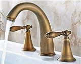 Hahn Retro Zeichnung American Brass Faucet Mit Spritz- Und Schlauch- Reines Kupfer Vintage Kurve High-End Leitungswasser Waschtisch Armatur Waschbecken Badezimmer Single Auswurfkrümmer 2 Griffe