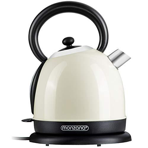 monzana Retro Wasserkocher - Edelstahl BPA frei | 1,8 Liter | 2200W | Überhitzungsschutz | Teekocher Teekessel Kocher | Creme