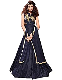 W Ethnic Women Taffeta Silk Anarkali Semi-stitched Salwar Suit (WE--ERT-EwF10740_Navy Blue_free Size)