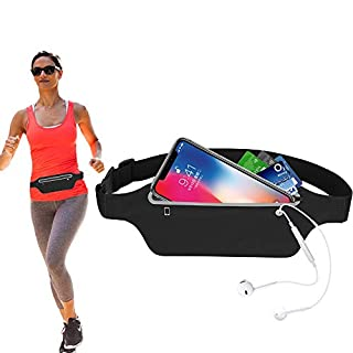 HO2NEL Sport Hüfttasche Damen Herren Ultraleicht Bauchtasche Gürteltasche Wasserdichte Laufgürtel Lauftasche mit Kopfhöreranschluss und Reflexstreifen für Smartphone Verstellbarer Gürtel