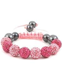 08-Ball Children Kids Girls Boys Petites Teen Pink Fuchsia Bead Shamballa Bracelet on Pink String