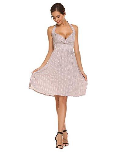 Meaneor Robe Femme Rétro Rockabilly Swing Vingtage 1950's Andrey Heburn Dress à pois 4 Couleur Gris