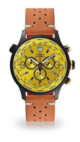 DETOMASO AURINO Montre pour Hommes Chronographe Chronographe Analogique Quartz Marron Racing Bracelet Cuir Vintage Cadran Jaune Clair DT1061-O-844
