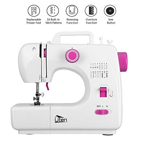 Uten Nähmaschine Anfänger Mini Sewing Machine, 16 Nähprogramme für Kinder DIY Begeister