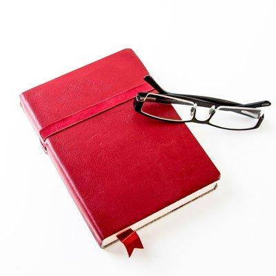 Vintage-Style Leder Tagebuch/Notizbuch, Recycling säurefreiem Papier-Rot-170x 120mm (Papier Säurefreiem Notebook)