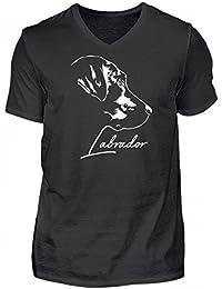 Labrador Motiv T-Shirt Hunderassen T-Shirt  Zeichnung Labrador schwarz braun