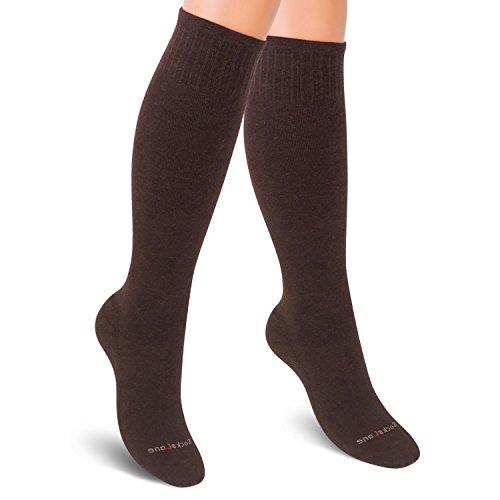 SocksLane Kompressionsstrümpfe Baumwolle für Frauen. Kompressionssocken Bei Krampfadern, auf Reisen (Braun, Medium-Large)