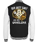 <p>V-8 Motor Shirt · Mechaniker · Werkzeug · Werkstatt · Schrauben · Hebebühne · Kfz · Beruf · Spruch · Pulli · Jacke · Hoodie · T-Shirt · Geschenk - College Sweatjacke -S-Schwarz-Weiss</p>