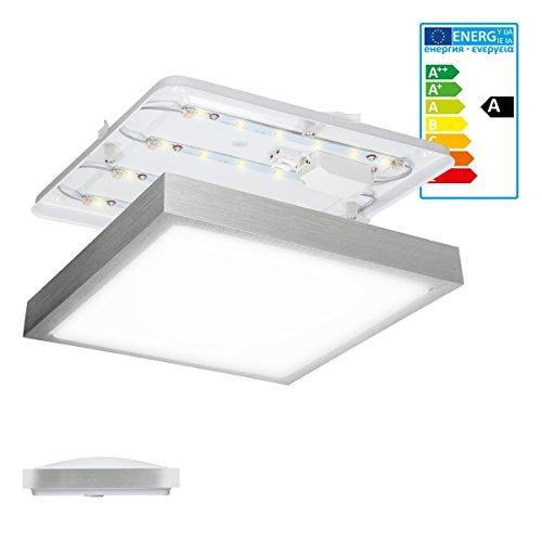 ECD Germany Deckenlampe LED weiß - Deckenleuchte eckig 300 x 300 mm - 12W - 220-240V - 960 Lumen - Neutralweiß 4000K - LED Lampe für Schlafzimmer Bad Wohnzimmer