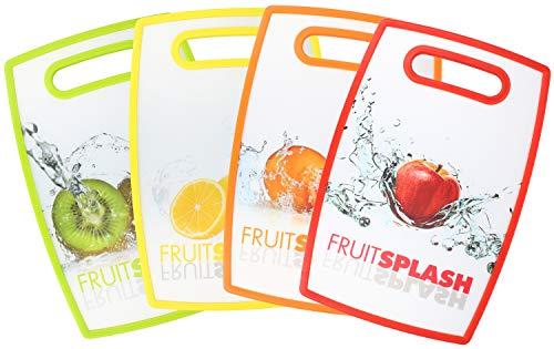 COM-FOUR 4x zweiseitiges Schneidebrett aus Kunststoff mit Früchte-Motiven - robustes Frühstücksbrett für die Küche - 30 x 20 cm (4 Stück - Früchte)