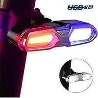 DON PEREGRINO Gama Alta LED Luz Trasera Bicicleta ROJA, Azul & Blanca 3 Colores – Impermeable - USB Recargable – Super Luminoso