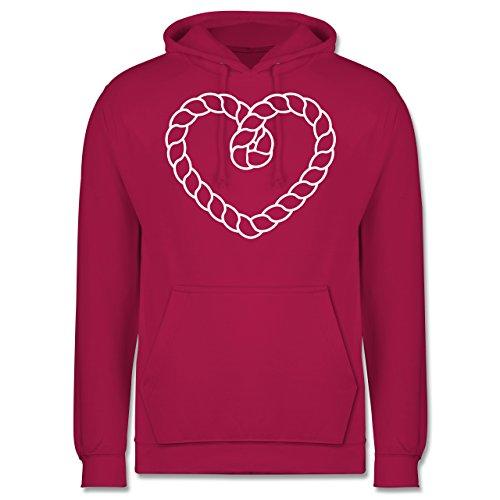 Romantisch - Tau Herz - Männer Premium Kapuzenpullover / Hoodie Fuchsia